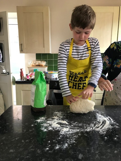 Reece has enjoyed learning how to make bread.