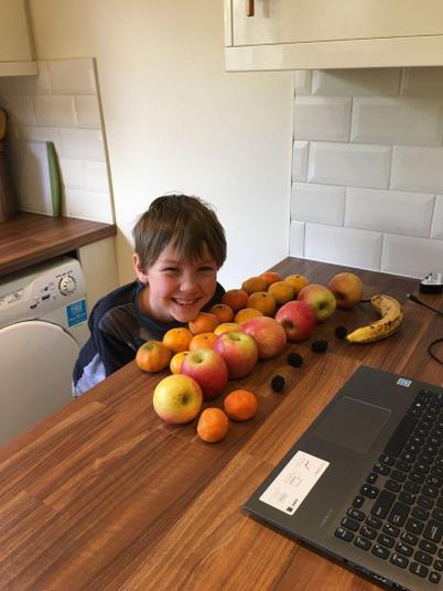 Louie has been using fruit to make arrays.