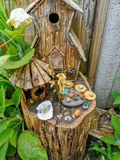A beautiful fairy garden by Savannah.