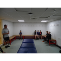 Y6 in the visitors changing room