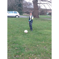 Jack has been practising football (even with a broken arm!)