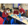 Even Mr Mahmud came down and had a go at sewing !