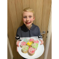 Finley has made some cupcakes.