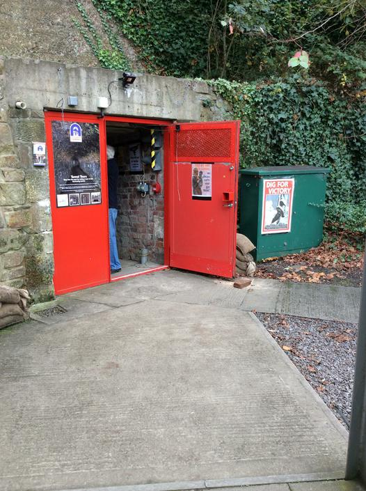 The red doors into the tunnel.
