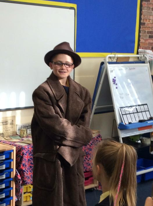 Here is Oliver looking very smart in WW2 clothes!