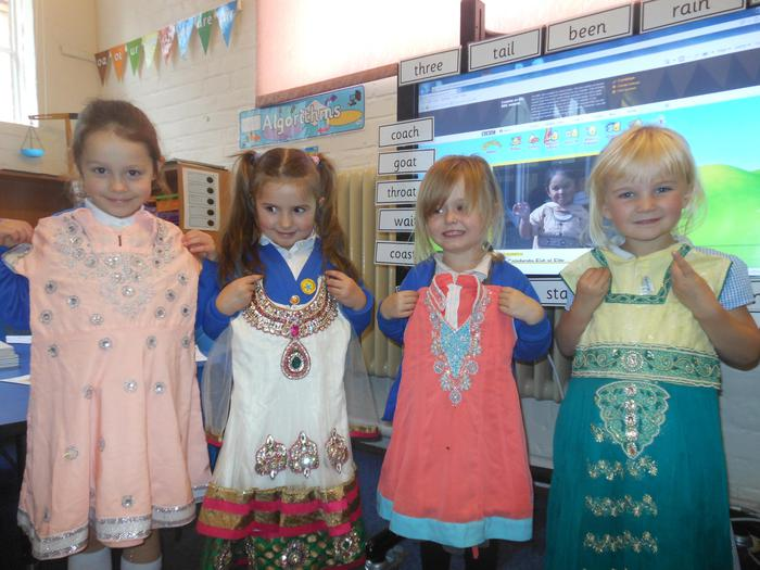The special clothes were brightly coloured.