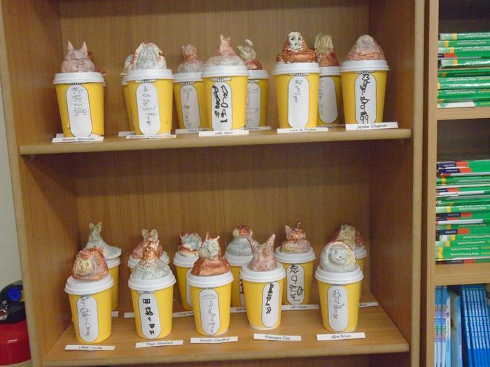 Our canopic jars complete with hieroglyphs.