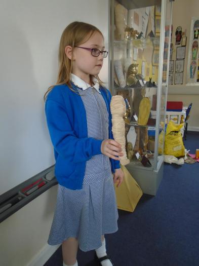 She made a mummy to go inside.