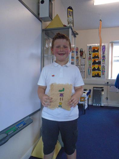 Corey made some papyrus complete with hieroglyphs.