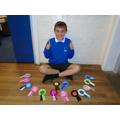 Luca's gymnastics ribbons.  What a hoard!