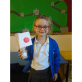 Ivy made a fabulous Japanese flag.