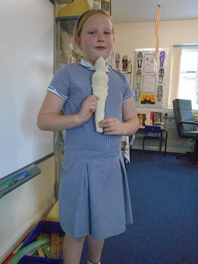 Chloe shows off her mummy!