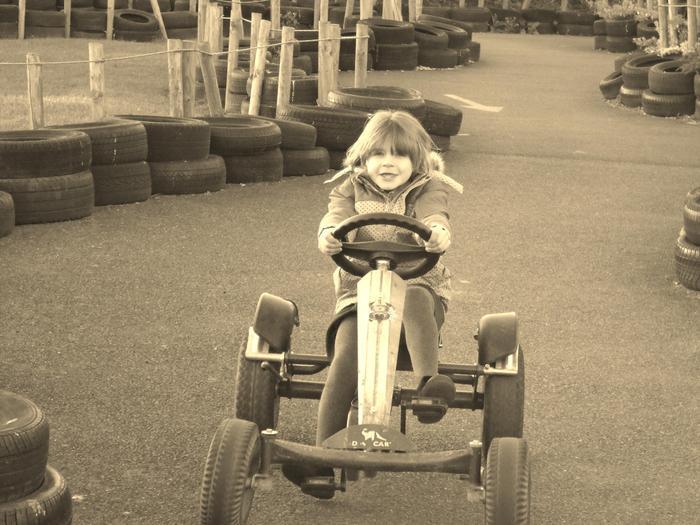 Having fun on the Go Karts.