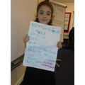 Olivia's wonderful number bonds to 10 and 100.