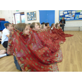 After lunch, we dressed up in Indian clothes.