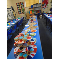 Friday lunch set up and ready in Nightingale class