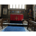 The special altar cloth for Pentecost.