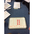 We began to explore how to divide one and two digit numbers by 100.