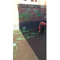 This was so much fun - green water slime and using it to draw and write!