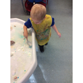 Noah explores ice, colour and cornflour