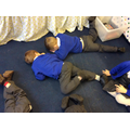 We're acting out our story 'Snow Friends'