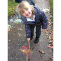 We made fireworks in our Forest Schools session using powder paints!