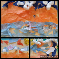 We made beach pictures using collage materials!