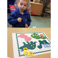 Matching numeral to amount - dotty about dinosaurs