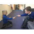 Sharing and working together.