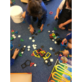 Using shapes to construct models.