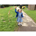 We made streamers and used them to dance with whilst singing nursery rhymes!