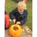 We carved the pumpkins!
