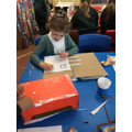 We made some Tudor houses out of recycling.