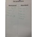 We made predictions about which materials we thought would be waterproof or absorbent...