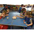 Painting fossils in science week