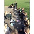 We used coloured rice flour.