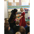 Mrs Pala  showed us how to put on a sari!