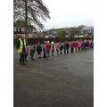 We practised crossing the road in the playground