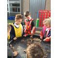 We made our own mud hedgehogs outside