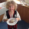 A decorated gingerbread pirate
