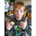 Thumbs up for Georges' sweet biscuits!