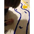Joseph drawing a Nile Crocodile!