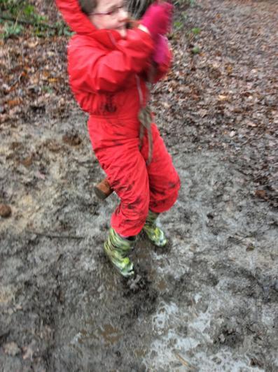 Muddy forest school.