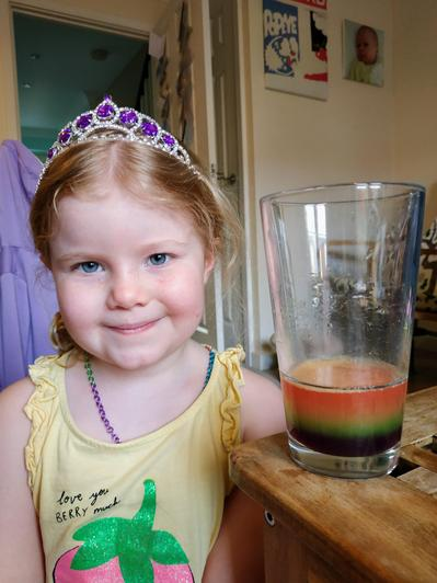 Amber's rainbow science experiment.