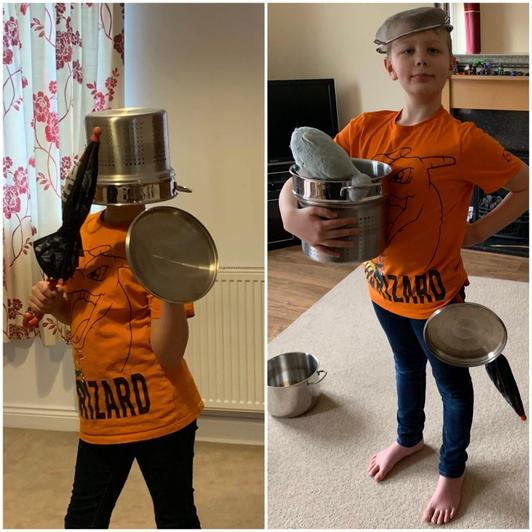 Alex had fun dressing up as a warrior using household objects!