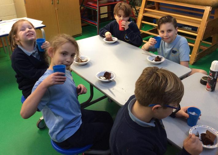 Hot Chocolate and cake treat!