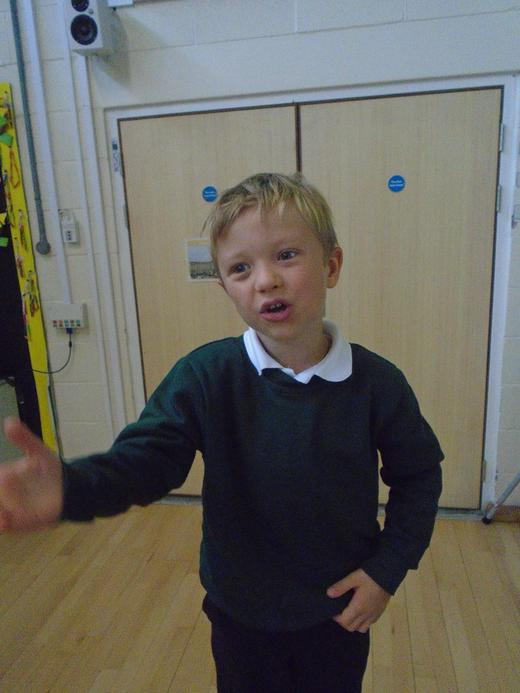 For joining in class discussion by putting his hands up.