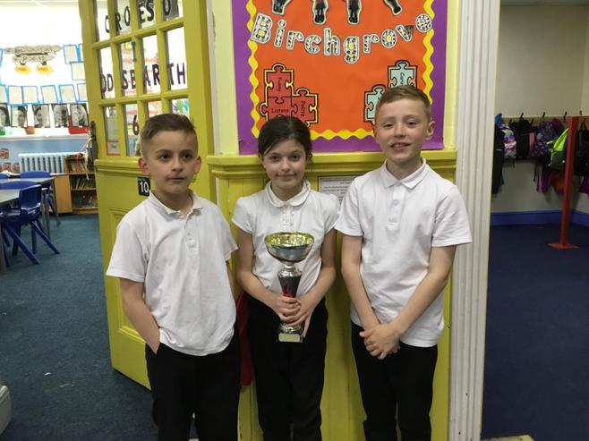 4J, 5B & 6 V won the attendance cup with 100%