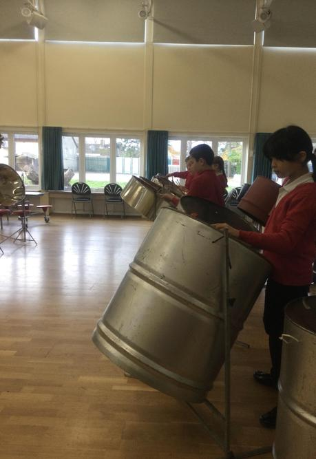 We are learning to play jingle bell rock on the steel drums. It is going well so far!