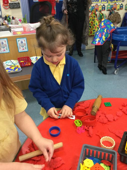 Making cakes with the playdough!